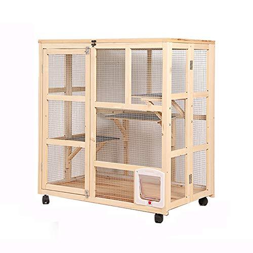 Hundehütte Outdoor Zwinger Holzkatzenkäfig Pet Coop mit beweglichem Universal-Rad Cat Hutch Kleintierhaus langlebig und sicher for Innen 3-Tier Cat Startseite Y (Color : Beige)