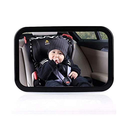 Baby Car Mirror - for Rear Facing Car Seats - Large, Easily View Infant in Backseat - Best Newborn Baby Accessory for Travel