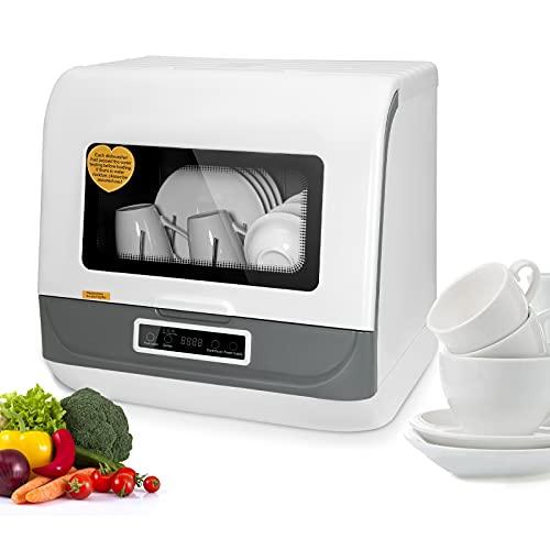 Lavavajillas de sobremesa Mini lavavajillas portátil de 45 cm, BITOWAT 360 ° Limpieza completa   Cómodo lavaplatos de encimera con un clic, para el hogar, el apartamento