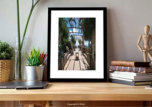 №22757 Wall Art with Black Frame,Italian Decor,Beautiful Panorama Villa Rufolo Ravello Amalfi Coast Historical Famous Nature,Multicolor, for Home Decoration