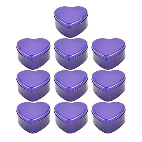 Toyvian 10 Stücke Herzförmige Metalldosen mit Deckel Kerzendosen Leere Blechdose Container Hochzeitsbevorzugungskästen Geschenk Süßigkeitskästen (Lila)