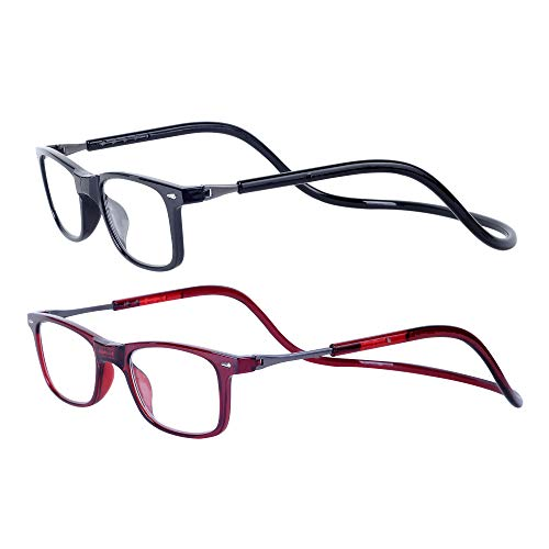 Magnéticas Gafas de lectura Plegables 2-Pack Negro Rojo +2.5 Presbicia Vista para Hombre y Mujer Montura Regulable Colgar del Cuello y Cierre con Imán +2.5(60-64 años)