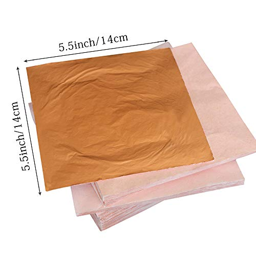 "Gilding Crafting Furniture 5.5 by 5.5 Inches Decoration,Frames 5.5/"" Imitation Golden Silver Rose Leaf,Foil Paper for Arts YongBo Gold Leaf Sheets"