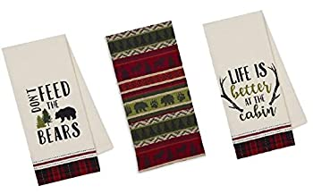 3 Cabin Lodge Themed Decorative Cotton Kitchen Towels with Bear Antler Deer Moose and Paw Print | Towel Set for Dish and Hand Drying