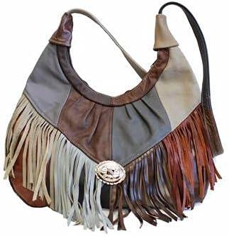 Fin Stores Women's Leather Fringe Hobo Bag (Multi-Color)