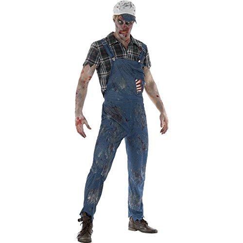 Halloween! Smiffys Zombie-Hinterwäldler-Kostüm, Damen, Blau, mit Latzhose, befestigten Latex-Rippen, Bluse & Baseballkappe