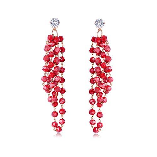 HMEI Pendientes largos de gota para mujer, con borla de cristal, pendientes de boda, fiesta, para damas de honor (color rojo)