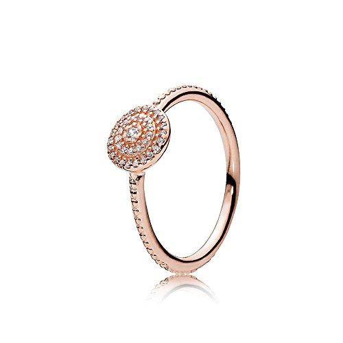 Pandora, 180986CZ-54, solitaire ring voor dames, zilver_verguld, met 'ringmaat 54 (17,2)