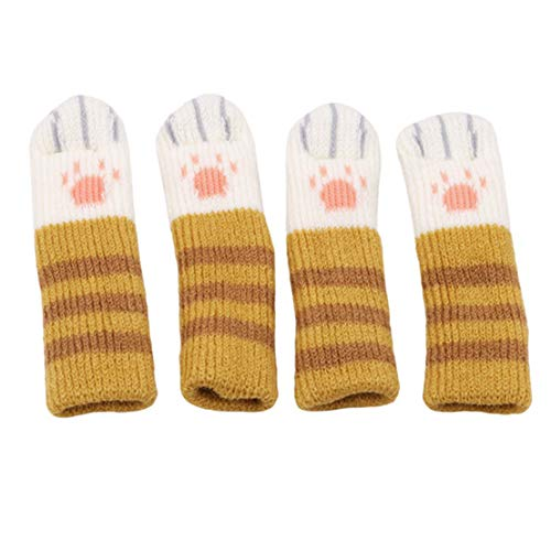 Kissherely 4 Stücke Stuhl Socken Möbel Beine Abdeckungen Protector mit Niedlichen Katze Pfoten Design Fliesenbodenschutz (Braun Streifen)
