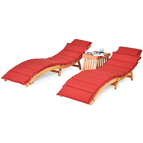 Tangkula 3 Pcs Folding Patio Solid Eucalyptus Wood Lounge Chair Set, Outdoor Lounger Chair w/Foldable Side Table, Double-Sided Cushion Lounger Chairs Set for Garden Lawn Backyard(Red & White)