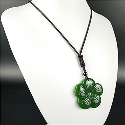 YZDKJ Natural Green Chinese Jade Trébol Colgante Collar Accesorios de Moda Joyería del Encanto Regalos de Amuleto tallados para Sus Mujeres Hombres