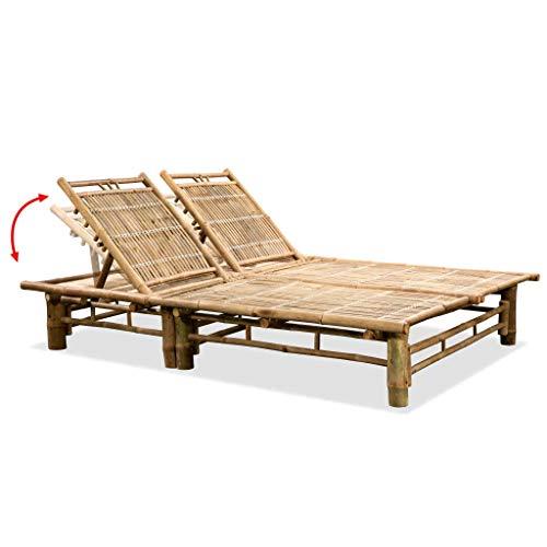 Sdraio doppio in bambù, sedia a sdraio reclinabile da giardino, 3 posizioni regolabili, 200 x 130 x 87 cm