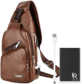 FR Fashion Co. 2019 Sling Bag For Men | Travel, Business or Leisure | USB Charging Port with Power Bank Included (Light Brown)