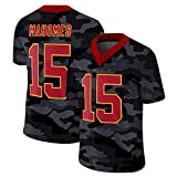 WHUI Mahomes Rugby Jersey, Hommes Mahomes 15# Fans Fit T-Shirt Jersey T-Shirt Respirant et Rapide American Football Football Tracksuit Style 7-XXXL