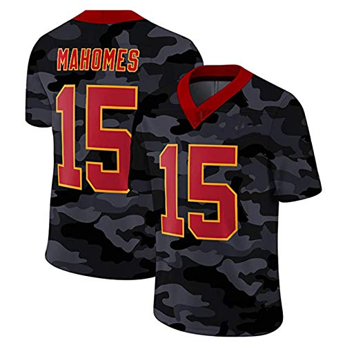 WHUI Mahomes Rugby Jersey, Männer Mahomes 15# Fans Fit Jersey T-Shirt Atmungsaktiv und schnell trockener amerikanischer Fußball-Trainingsanzug Style 7-S