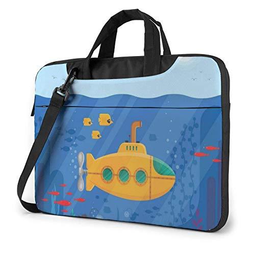 15.6 inch Laptop Tasche Schultertasche Bussiness Messenger Tablet Tasche Laptophülle Unterwasser-Periskop des U-Boot-Meereslebens