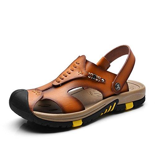 ailshabroy Herren Closed-Toe Klettverschluss Sandalen Mann Leder Outdoor Beach Schuhe (43, Braun)