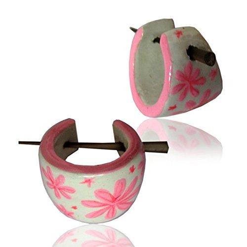 CHICNET Holzcreolen rosa weiß Pin-Ohrringe Pin-Creolen Blumen Holz Horn Pin handbemalt 16 mm