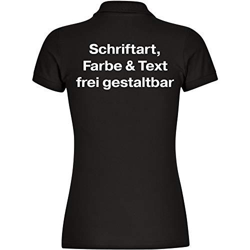 Damen Poloshirt Druck hinten (Anpassung von Text, Schriftart, Schriftfarbe und Artikel Farbe) - Größe S bis 2XL - Bedrucken Wunschtext Shirt Frauen, Größe:XL