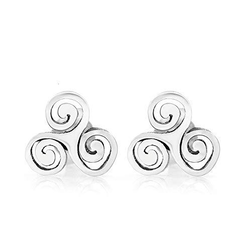 SUVANI Sterling Silver Tiny Triple Spiral Triskele Triskelion Celtic Symbol 10 mm Post Stud Earrings