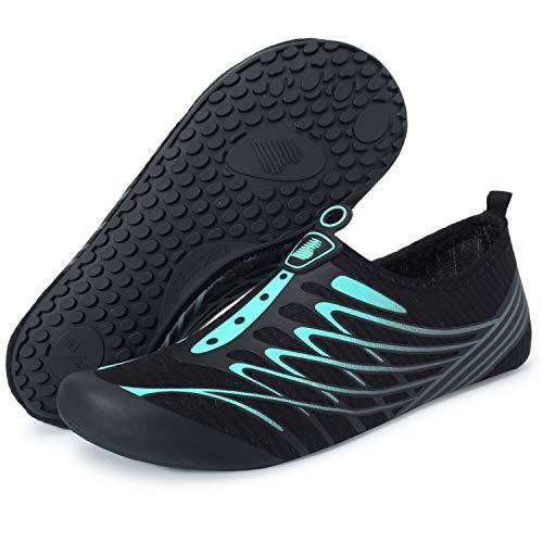 BARERUN Water Shoes Women's Men's Outdoor Beach Swimming Aqua Socks Quick-Dry Barefoot Shoes Surfing Yoga Pool Exercise Blue 14-15 Women/12-13 Men