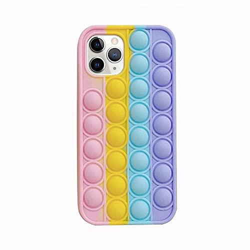 Custodia per iPhone 11 Pro,Fidget Toys Phone Case,Pop-It Fidget Cover Telefonica Antistress Giocattolo Bubble Phone Case,3D Pop Bubble Sensory Toy Morbido Silicone Cover Protettiva Custodia,Arcobaleno