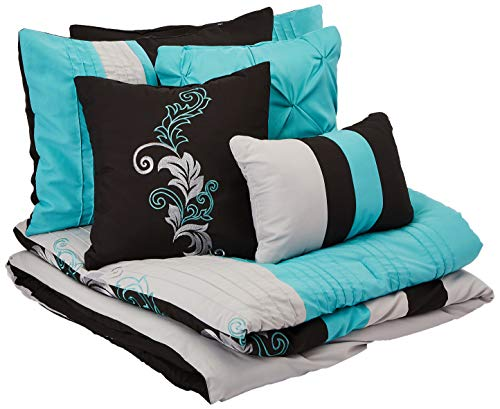 Chezmoi Collection Napa 7-Piece Luxury Leaves Scroll Embroidery Bedding Comforter Set (Full, Teal/Gray/Black)
