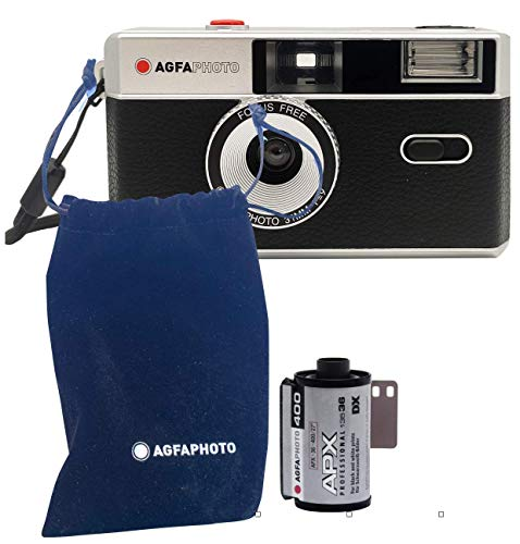 AgfaPhoto Analoge 35mm Kleinbild Foto Kamera schwarz im Set mit Schwarz/Weiß Film für bis zu 36 Bilder + Batterie + Trgagurt + Etui
