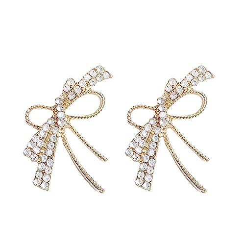 Simpatici orecchini a forma di fiocco,orecchini pendenti con piercing a fiocco di strass per donne ragazze,orecchini a bottone regalo di compleanno,orecchini con piercing gioielli per le donne