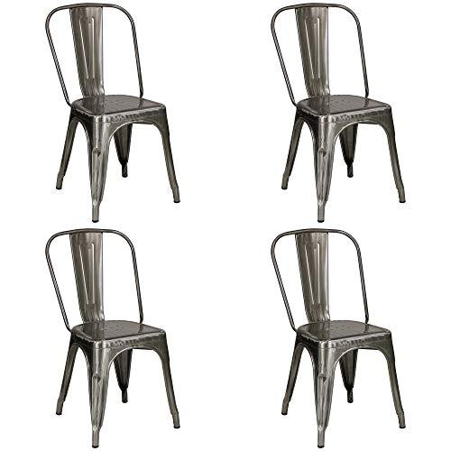 Totò Piccinni Sedia Industry in Metallo Design Industriale (Silver, 4 Sedie)