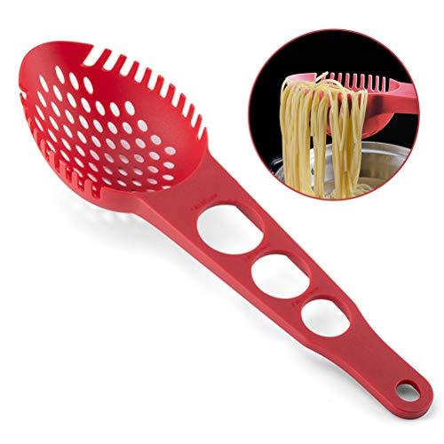 Yeyll 3-in-1 Multifunktionaler Spaghetti-Servierer - Spaghettilöffel, Löffelsieb & Spaghetti-Messwerkzeug mit 3 verschiedenen Messlöchern in verschiedenen Größen. Rot