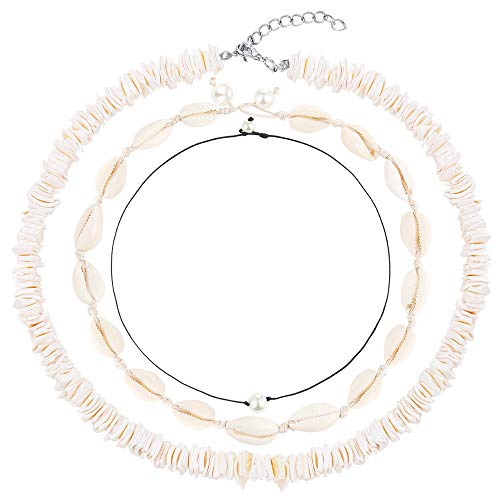 PP OPOUNT 3 Pieces Natural Shell Choker Include 16 Inches Pure White Puka Chips Necklace, 2 Pearl Chokers and Cowrie Shell Choker for Summer Beach Wearing