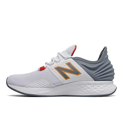 New Balance Men's Fresh Foam Roav V1 Running Shoe, White/Ocean Grey/Habanero, 9