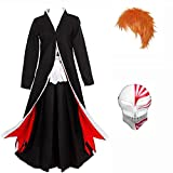 Updayday Bleach Kurosaki Ichigo Conjunto Completo de Disfraces de Cosplay Anime Kurosaki Ichigo Disfraz de Cosplay Fiesta de Carnaval de Halloween Disfraz de Cosplay, Conjunto Completo.