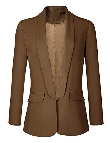 Urban GoCo Mujeres Blazers Chaqueta de Traje Slim Fit Elegante Oficina Negocios Outwear (Large, Camello)