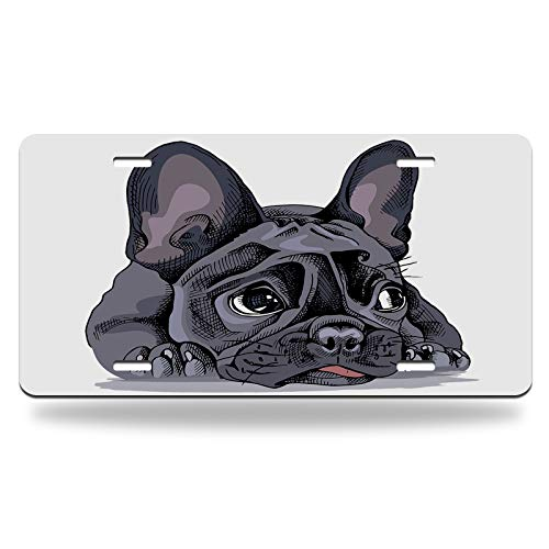 Moslion French Bulldog License Plate Watercolor Puppy Little Cute Adorable Animal Lovely Pet Vanity Tag Aluminum Novelty License Plate for Men Women Boy Girls Car 6 X 12 Inch