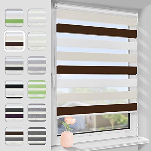 Bernice Doppelrollo Klemmfix ohne Bohren 75x120cm(BxH) Weiß-Beige-Braun Lichtdurchlässig & Verdunkelnd Duo Rollos für Fenster und Tür