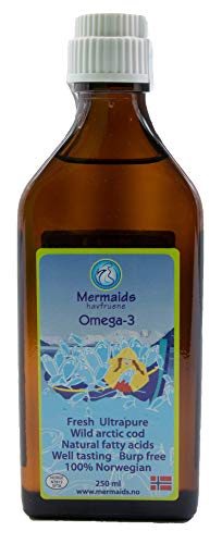 Mermaids Omega-3 - Ultra Pure 250 mL Liquid Cod Liver Oil From Norway - Sustainable Wild Caught Omega 3 - Fish Oil Supplement - For Kids and Adults