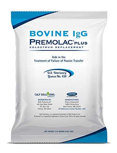 Premolac Bovine Immunoglobulins (IgG) Plus Milk Replacement Powder – Colostrum Replacer Supplement Powder for Calves & Newborn Livestock – Proven & Safe Formula - USDA Licensed