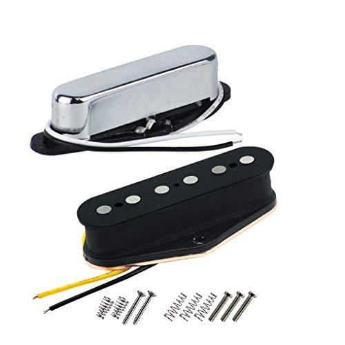 FLEOR Juego de puente de guitarra Vintage Alnico 5 / pastilla de mástil cromada (50 mm / 55 mm) para guitarra estilo Fender Telecaster