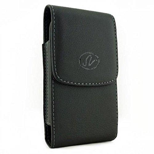 SNHDIGITAL Premium Black Leather Case Cover Pouch Holster Belt Clip for BLU Vivo 5R