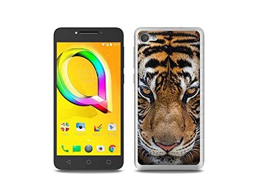 etuo Handyhülle für Alcatel A5 LED - Hülle, Silikon, Gummi Schutzhülle Foto Case - Blick von Tiger
