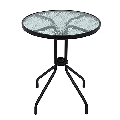 Weisong Garden Table 24 inches Patio Table Outdoor Dining Table Tempered Glass Top End Side Table Metal Frame for Outdoor Garden Bistro Pool Side Balcony Kitchen, UK in Stock (Round table)