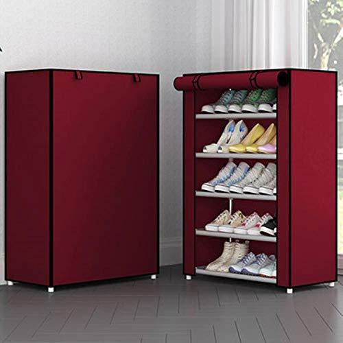 Simple Multi-capa Combinación a prueba de polvo Gabinete de zapatos de almacenamiento de tela no tejida Estante de zapatos de metal plegable organizador estante estante 6 capa color 6,China