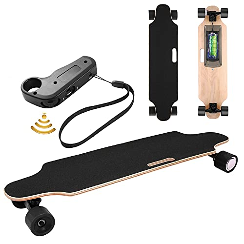 Electric Skateboard Youth Electric Longboard with Wireless Remote Control, 12 MPH Top Speed, 10 Miles Range, 7 Layers Maple Longboard(US Stock)