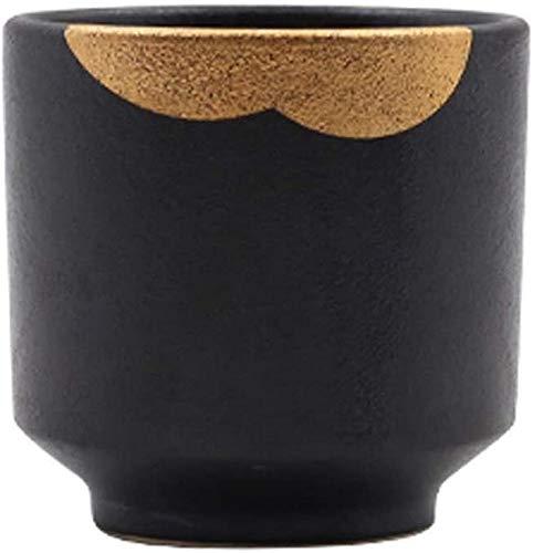 ZGYZ Plato de cerámica de Jade de Oro Negro/Plato de Hueso/Cuenco,Juego de vajilla,Juego,Adecuado para vajilla de 1 Persona (Taza de té)