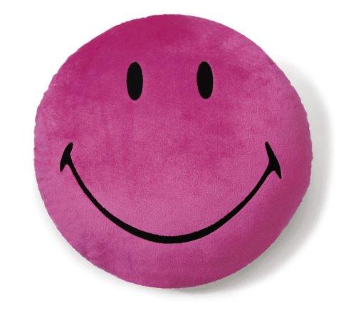 NICI 35872 - Kissen Smiley, Plüsch, rund, Durchmesser 35 cm, rosa