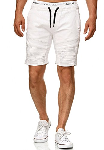 Indicode Herren Ernest Jeans Shorts mit 4 Taschen & elastischem Bund aus 98% Baumwolle | Kurze Denim Stretch Hose Used Look Washed Destroyed Regular Fit Freizeithose f. Männer Offwhite S