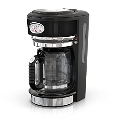 Russell Hobbs Retro Style 8-Cup Coffeemaker, Black & Stainless Steel, CM3100BKR