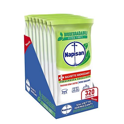 Napisan, 320 Salviette Igienizzanti, Multisuperfici, Biodegradabili, Potere Sgrassante, Freschezza...
